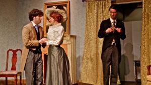 Jack (Justin Hernandez) woos Gwendolen (Rachel Powers) while Algernon (Wayne Roadie) looks on