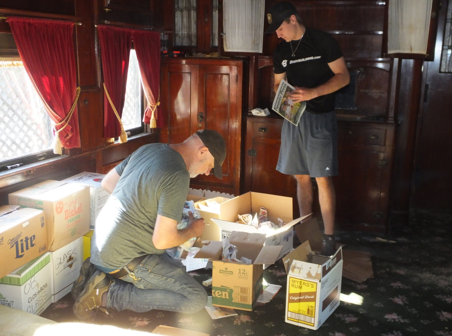 Steve and John Herrington's Grandson — Taking Down and Wrapping the Light Fixtures