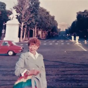 Jeff's mother in front of the Arc de Triomphe.